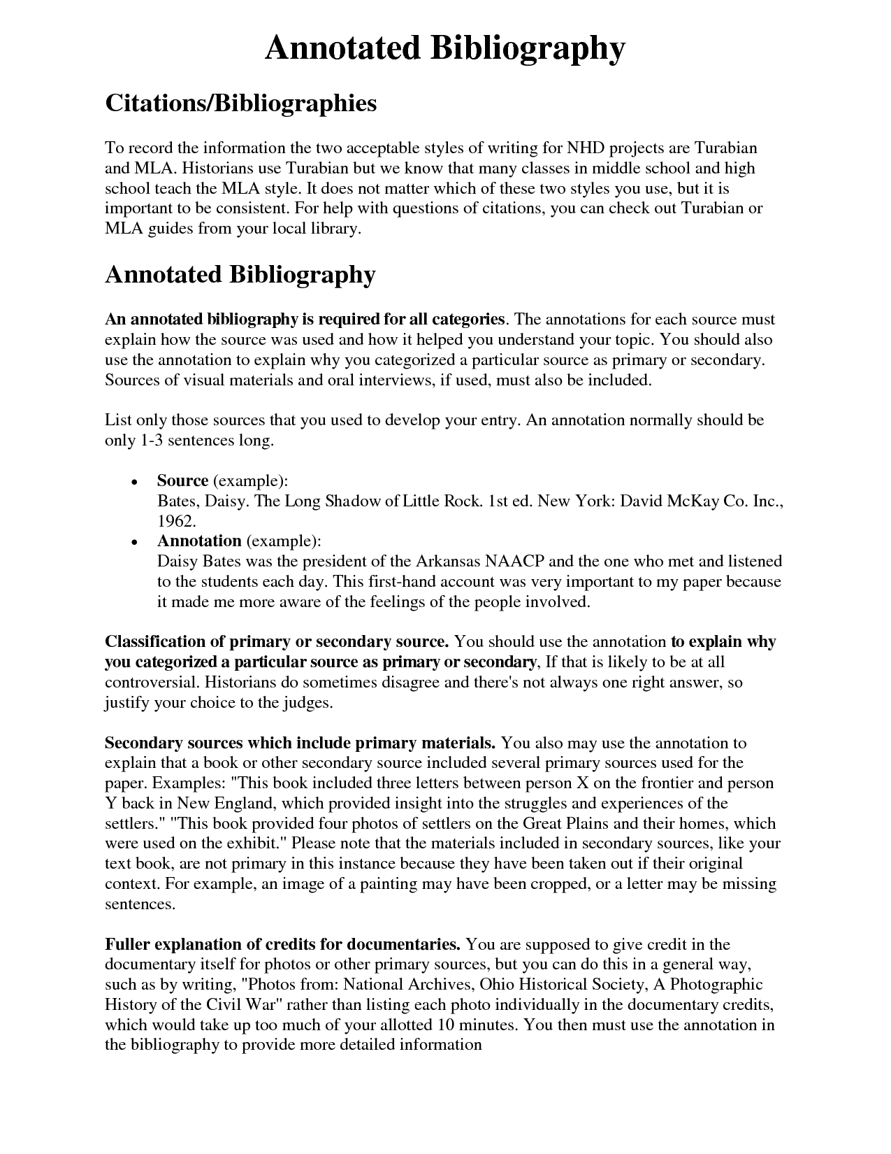 nhd annotated bibliography rubric
